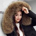 Novas mulheres casaco de inverno longo de algodão Coreano plus size Magro era fino algodão-acolchoado jaqueta grande gola de pele feminino parkas quentes MZ1091