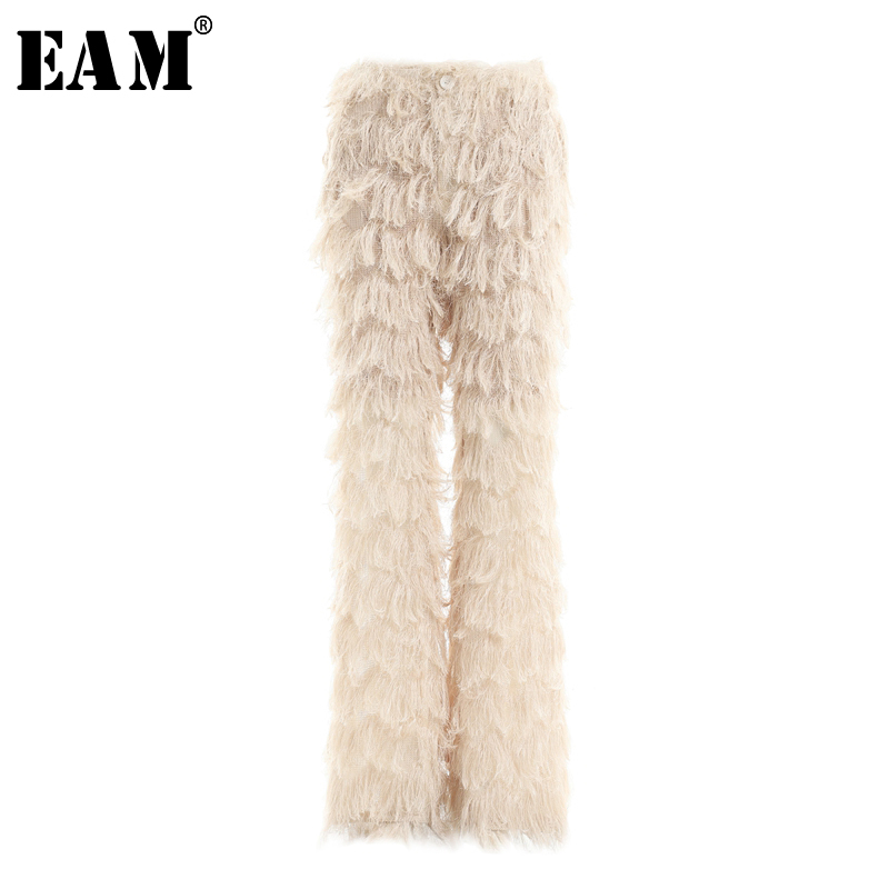 EAM 2019 New Spring Summer High Elastic Waist Loose Apricot Long Wave Tassels Wide Leg