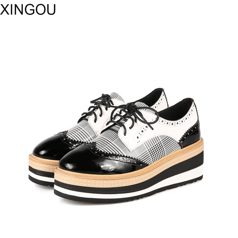 Fashion 2018 new Brogue women Shoes spring leather Flat Platform women casual lace-up female flats Increased Bullock shoes brand new spring men fashion lace up leather retro brogue shoes casual flat breathable carved shoes bullock oxfords shoes wb 55