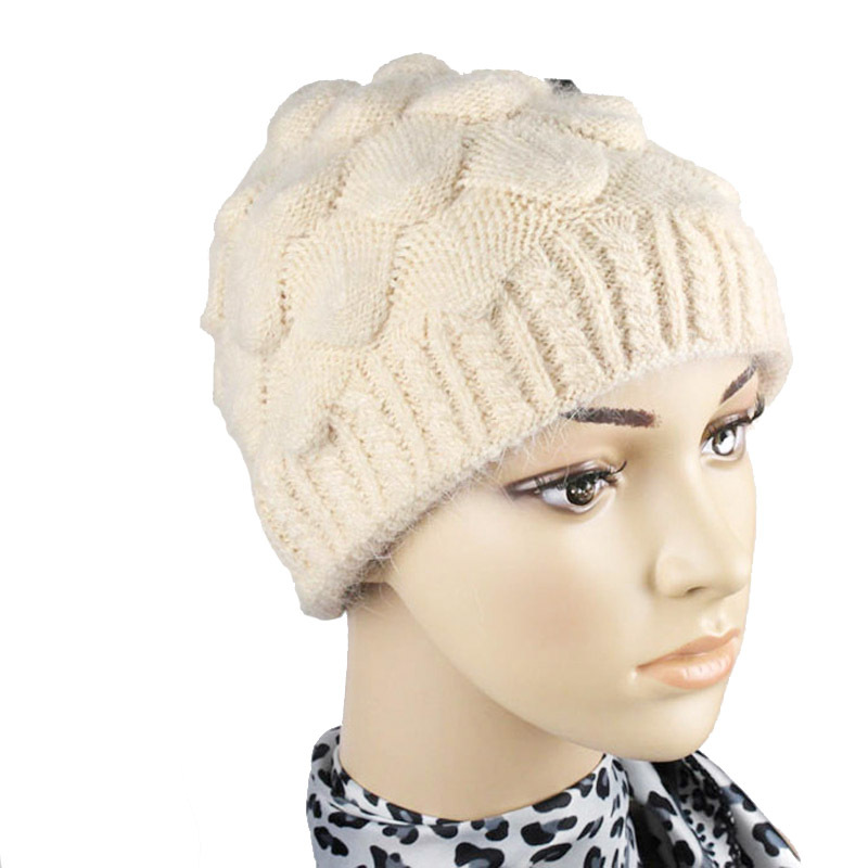 Wool Hats for Old Lady Thick Wool And Acrylic Winter Hat Knitted Women Cap Fashion Solid Color Warm Beanies for Women Top Caps