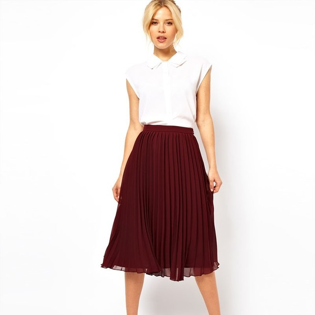 eae6cbae5bc7 Elegant Pleated Chiffon Midi Skirts Knee Length Dark Red Green Royal Blue  High Waisted Females Skirt Zipper Up