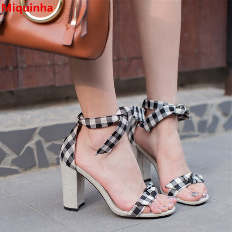 Miquinha Mixed Color Plaid Pattern Butterfly-knot Ankle Strap Square Heel Women Sandals Elegant Concise Women Casual Sexy Shoes