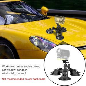 Image 2 - Triple Vacuum Suction Cup Mount Windshield Vehicle Car Hood Holder for Eken H9R SJ7 Star SJ8 Pro Insta360 ONE X Sports Camcorder