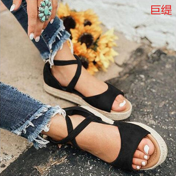 Sandalias de verano para mujer, Sandalias planas de cáñamo con cabeza redonda, Muffin con hebilla de PU, zapatos de mujer