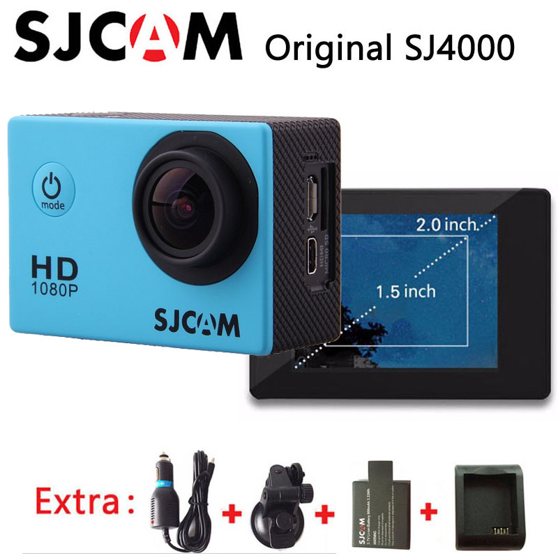 Original SJCAM SJ4000 Sport Action Camera Full HD 1080P Waterproof go pro style DV+Car Charger+Holder+Extra 1pcs battery+Charger