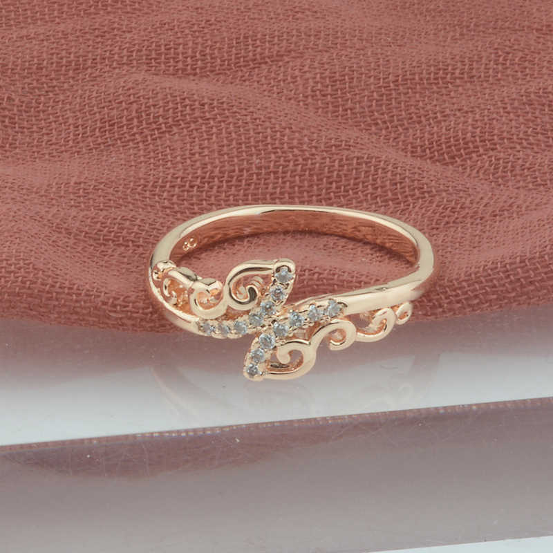 FJ 9mm Women 585 Rose Gold Color Rings Cubic Zircon Butterfly Rings 6 7 8 9 10
