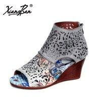 Xiangban 2018 Summer Gladiator Sandals Women Ankle Boots Wedges High Heel Sandals Peep Toe Cut Out
