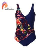 Andzhelika Women New One Piece Swimsuit Sexy Deep V Swimwear Floral Patchwork Plus Size 2XL 6XL