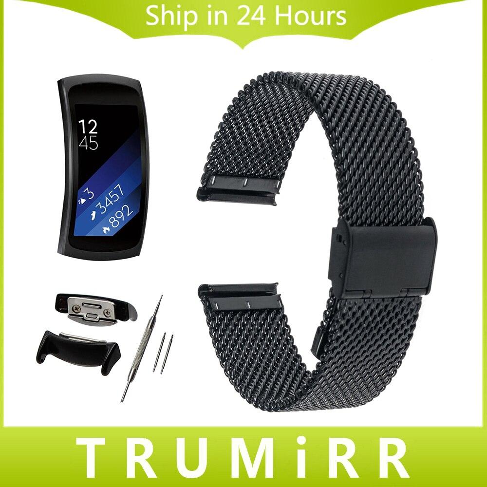 Prix pour 18mm Milanese Montre Bande pour Samsung Gear Fit 2 SM-R360 Bracelet En Acier inoxydable Ceinture En Métal Bracelet Noir Or Rose argent