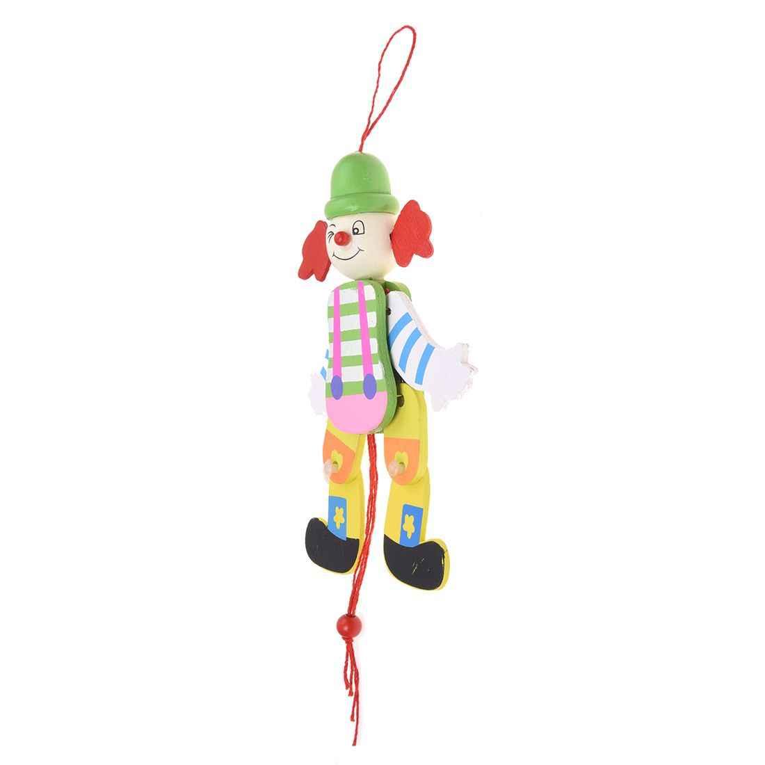 سلسلة سحب خشبية للمهرج لعبة أذرع الأرجل تصعد وتهبط للأطفال-لون عشوائي