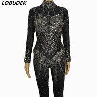 Серый Черный Большой Стразы комбинезон пикантные узкие Стекло Diamond Bodysuit ночной клуб Для женщин певец DJ Костюм Пром вечерние этап носит
