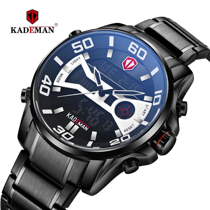 2019 KADEMAN Fashion Men's Watches Luxury Digital LED Dual Display Watch Sport Casual Business Wristwatch 3ATM Full Steel K6171