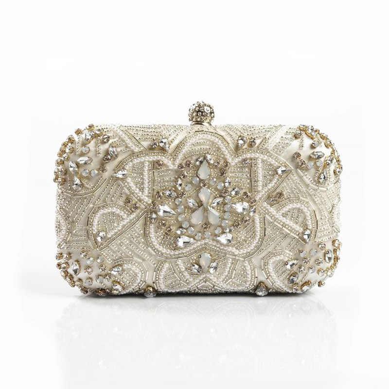 d08aeefc77 Luxury Women Evening Bags Fashion Pearl Beaded Diamond Women Evening Clutch  Bag Bridal Wedding Purse Handbag