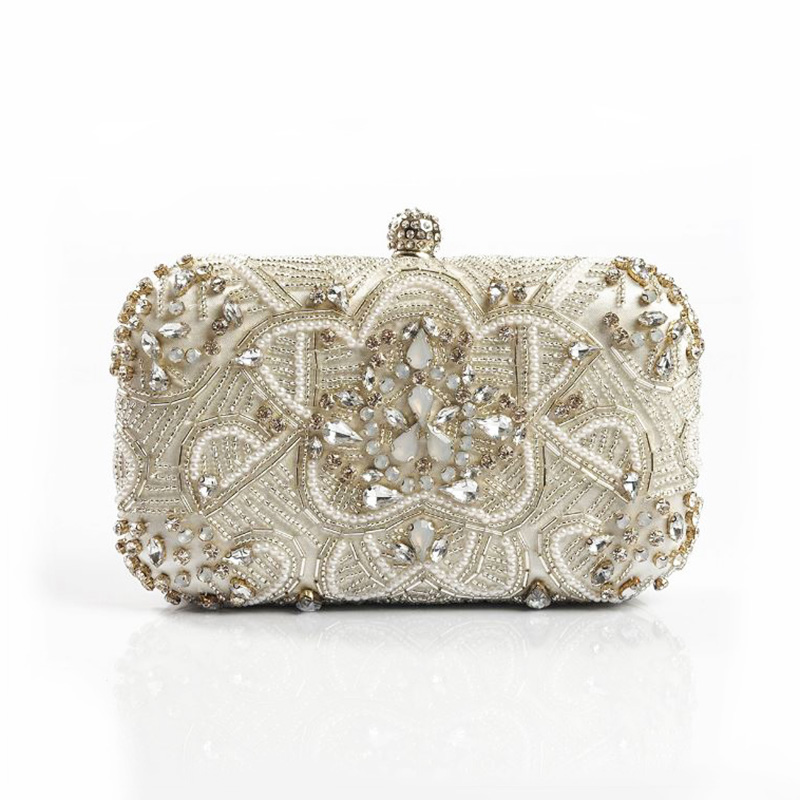 Luxury Women Evening Bags Fashion Pearl Beaded Diamond Rhinestones Women Evening Clutch Bag Bridal Wedding Purse Handbag Chain