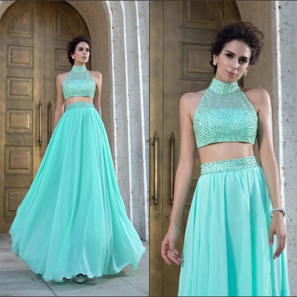 c99c142dfc0 Beautiful Beaded Two Piece Prom Dress Tulle Light Green Turquoise Prom  Dresses High Neck Pretty Prom Gowns Dresses For Prom RT14