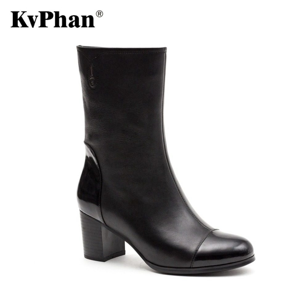 KvPhan Women Real Genuine Leather Round Toe Boots Woman Classical High Heel Knight Boot Female Zipper Rubber Sole Women's Shoes nayiduyun women genuine leather wedge high heel pumps platform creepers round toe slip on casual shoes boots wedge sneakers