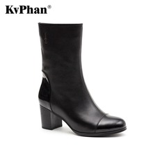 KvPhan Women Real Genuine Leather Round Toe Boots Woman Classical High Heel Knight Boot Female Zipper