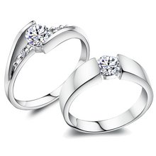 Free shipping high quality 925 sterling silver swiss diamond platium plated lovers`couple rings 1pair/lot