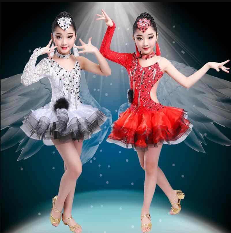 Latin flamenko balo salonu dans yarışması elbiseler için kız pullu salsa rumba tango samba cha cha elbise çocuk çocuk kostümleri