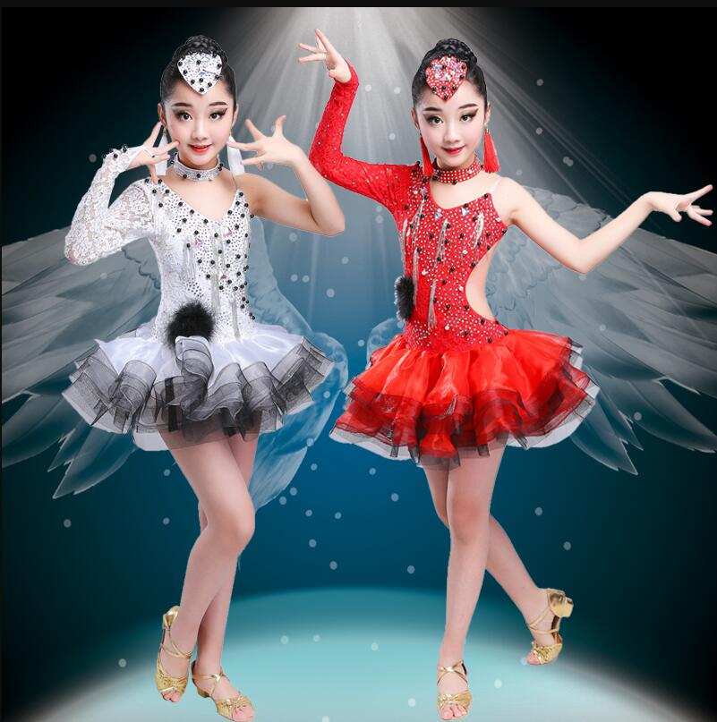 Latin Flamenco Ballroom Dance Competition Dresses For Girls Sequin Salsa Rumba Tango Samba Cha Cha Dress Kids Children Costumes