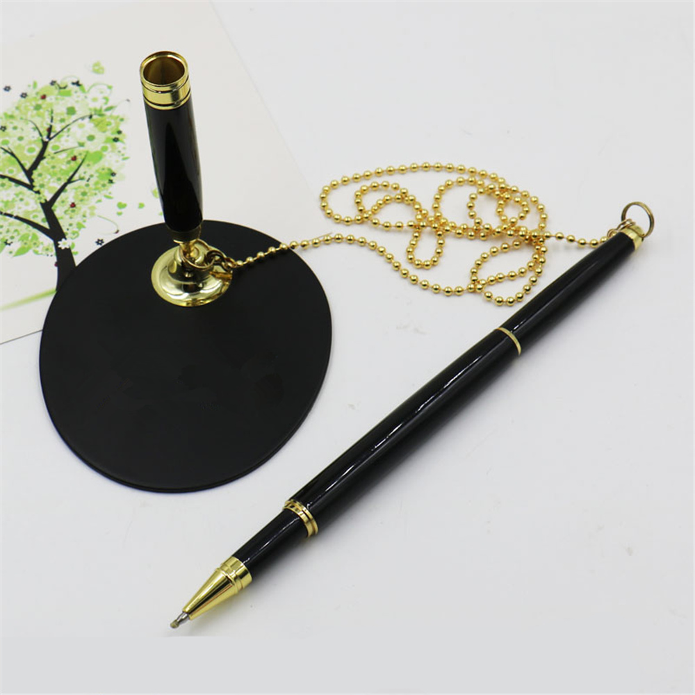 Metal Rollerball Pen with Base Fix on table Counter Liquid ink Pen with Chain Finance Banking Pen Gel ink Pen Holder deli 6791 0 5mm gel ink counter table pen for writing