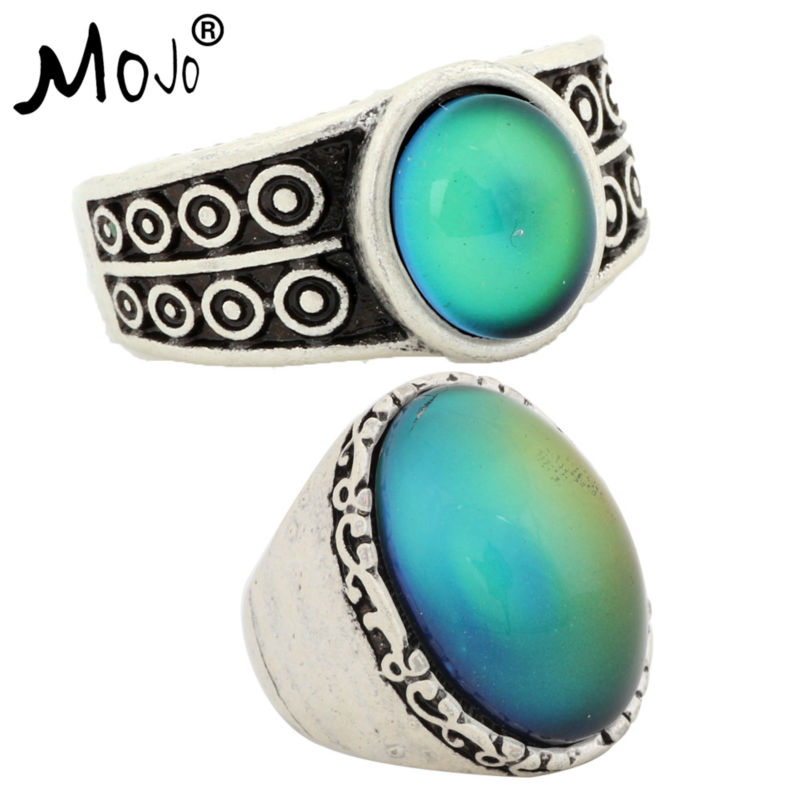2PCS Antique Silver Plated Color Changing Mood Rings Changing Color Temperature Emotion Feeling Rings Set For Women/Men 007S026