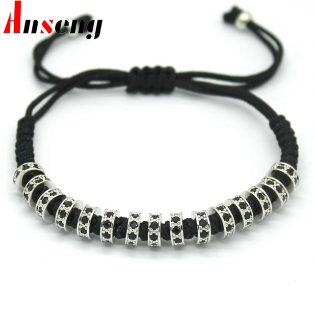 2017 New Arrival Women Fashion  Bracelets,Silver Micro Pave Black CZ Stoppers Beads Strand Macrame Bracelet For Women Jewelry