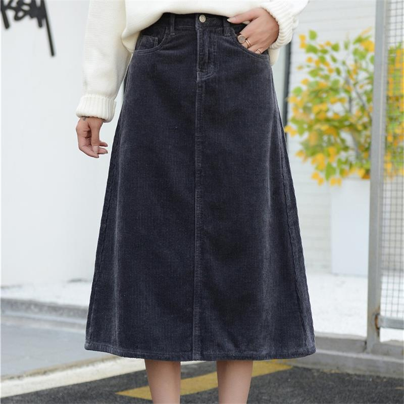 Image 2 - Free Shipping 2019 New Spring Autumn Womens Corduroy Skirt Girls