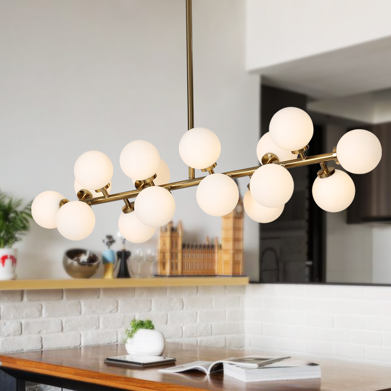 цена Modern magic beans DNA Lustres pendant light industrial Nordic Art Deco white glass ball MOD hanging lighting