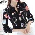 Korean Spring Chiffon Blouse Shirt White OL Blouse Women Long Sleeve Elegant Ladies Chiffon Shirt Printed Blouses Plus Size 3XL