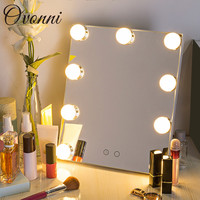 Vanity Tabletops Lighted Makeup Mirror With 7 LED Bulb Lights Touch Stage Screen Beauty Mirror Adjustable Cosmetic Tool 2018