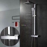 Bathroom Thermostatic Shower Set.Square Thermostatic Shower Faucet Mixer.8 Square Shower Head,Square Hand Shower.Chrome Finish
