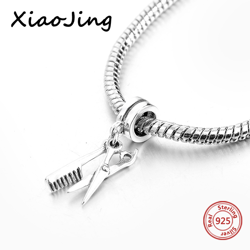Fit Authentic pandora Bracelet Silver 925 charms Original Scissors comb Charms Beads Pendant For Women bead Jewelry making Gift in Beads from Jewelry Accessories