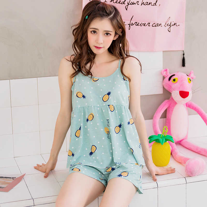 414632bf0a ... New Arrivals Summer Sweet Girls Sleeveless Pajamas Young Women s Pajama  Sets Cotton Sleepwear Female Sexy Nightgowns ...