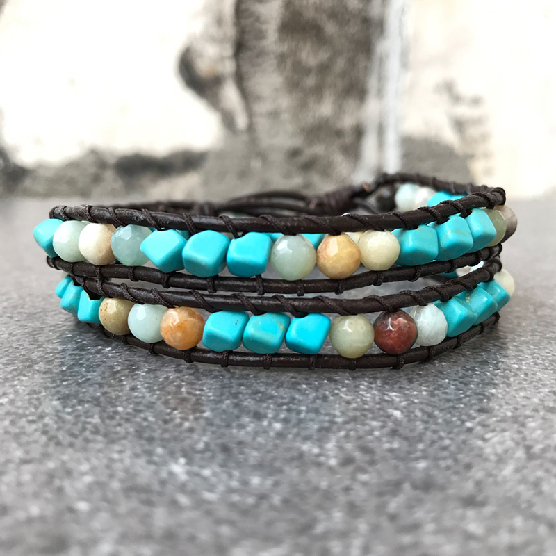 Leather bracelets mix beads natural stones 2 strands leather 37cm bracelets wrap vintage weaving bead bracelet B109