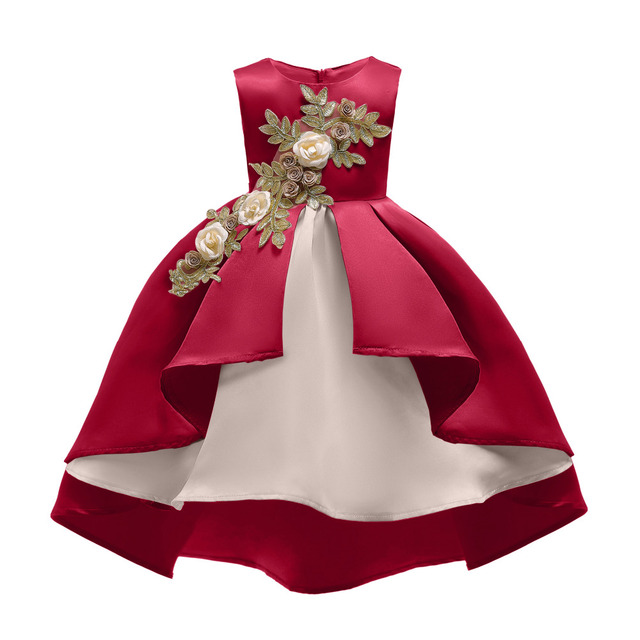 1180ab78d4d65 Girls Christmas Red Green bias Trail Dress Princess baby Clothes Children  Wedding Birthday Party frocks For 4 6 8 10 12 Years