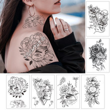 Girl In The Flower With Rose Cornflower Waterproof Temporary Tattoo Sticker Black Tatto Body Art Big Arm Hand Women Fake Tatoo(China)