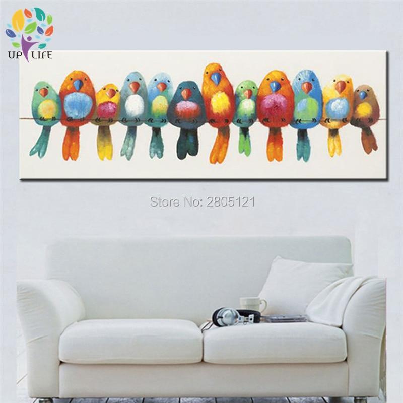 ručně malované moderní domácí dekorace pták obrazy barvitý fantazie karikatura ptáci plátno olej malba pro děti pokoj dárek přítomný