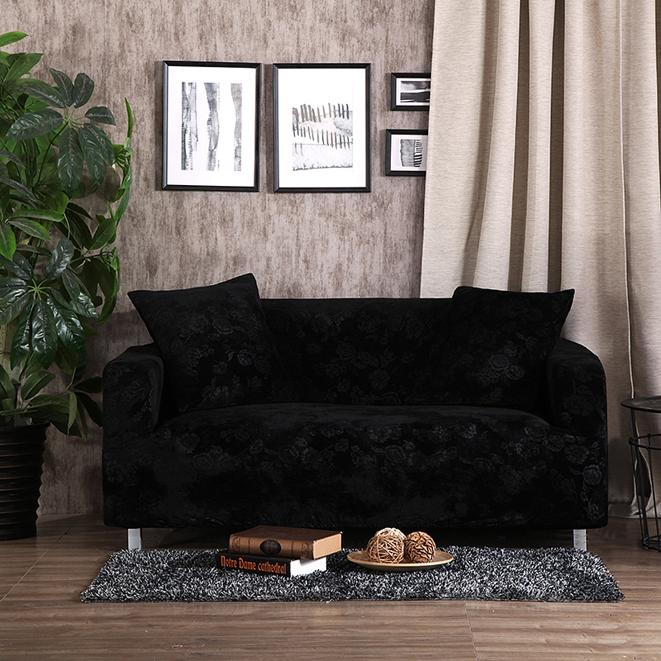 Black Embossing Stretch Sofa Cover For Living Room,100% Polyester Couch  Sofa Cover Home