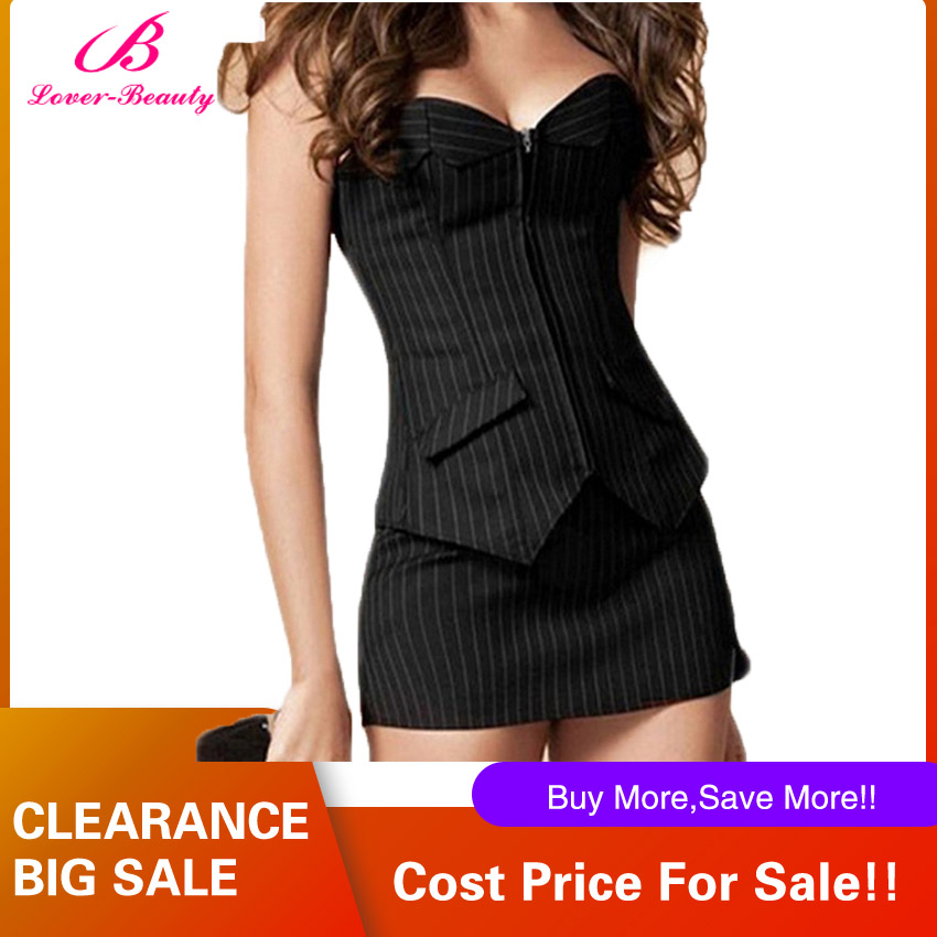 Lover Beauty Bustier Corset Skirt Dress Sexy Black Pinstripe Corselet Overbust Office Lady Lace Up Costume Plus Sizs zip Corsets