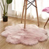 RAYUAN Floral Form Künstliche Wolle Schaffell Haarigen Teppich Faux Matte Sitz Pad Pelz Warme Tapetes Boden Matte Weichen Bereich Teppich 90CM