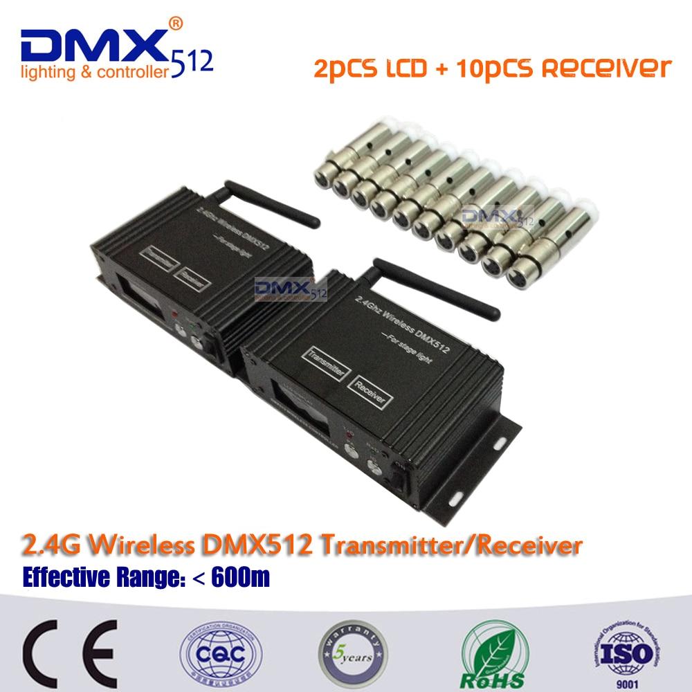 ФОТО DHL Free shipping 2pcs newest wireless LCD DMX512 receiver/transmitter& 10pcs MINI Wireless DMX512 Receive