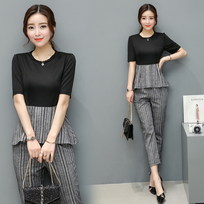 A Woman O Neck Top Stripe Pants Clothing Set Style Suit New Korea Fashion 2017 Summer Two-Piece Clothes Patchwork Outfit M-XXL
