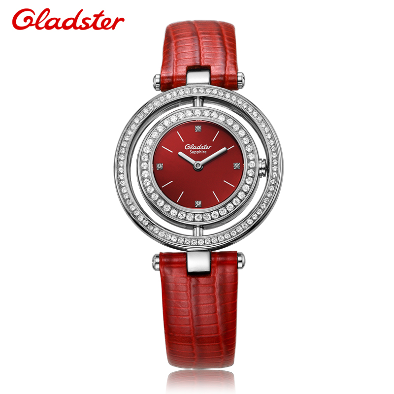 Gladster Fashion Women Quartz Ladies Watch Wrist watches Crystal Red Leather strap Relogio Feminino Bayan Saati Relojes Mujer read fashion watch women dress quartz watch casual ladies wrist watch women relogio feminino relojes mujer leather clcok r2012