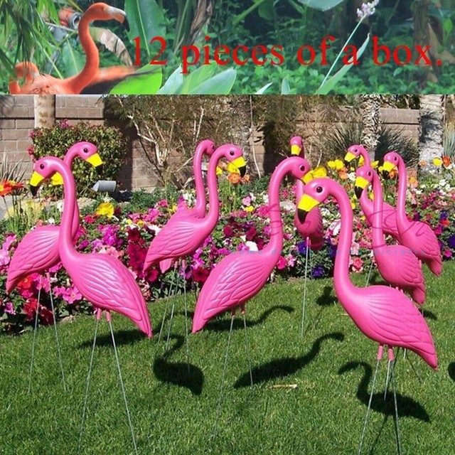 12 pink plastic flamingos garden accessories crafts landscape home decor yard and lawn ornament wedding jardin - Garden Accessories