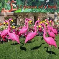 12 Pink Plastic flamingos garden accessories crafts landscape home decor Yard and lawn ornament wedding jardin decoration