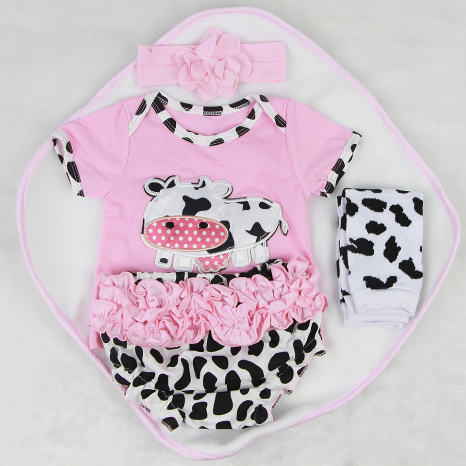 2017 Wholesale Baby Doll Clothes Suit 22-23 inch Reborn Baby Doll Wear Headband Shirt Pants Long socks 4 pcs Real Baby Clothes handmade reborn baby doll clothes suit for 10 inch to 12 inch baby doll