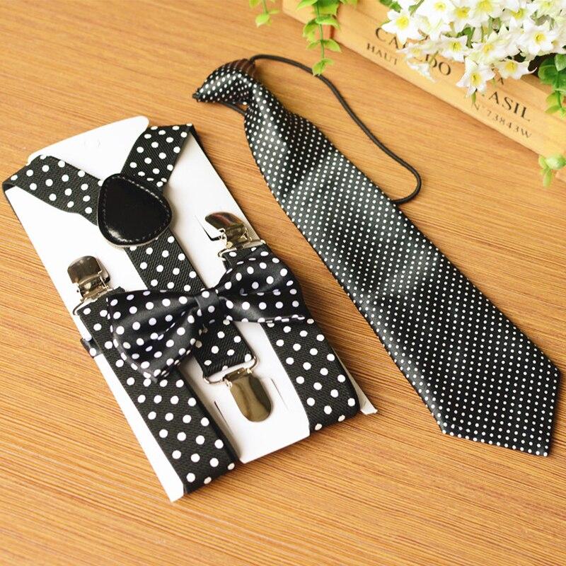 OnnPnnQ 3 PCS Kids Suspenders Set Fashion Print Dots Bow Tie Suit Elastic Adjustable Y-back Braces Wedding Ties For Children Boy
