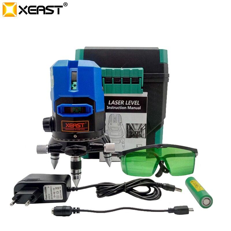 Xeast lumière bleue 5 lignes 360 rotatif niveau automatique laser niveau mètre outil machine niveleur