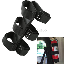 Lonleap Black Red Nylon Straps Roll Bar Fire Extinguisher Holder for Jeep Wrangler TJ YJ JK CJ Car-Styling Interior Parts аудио усилитель gd parts 1 tj fullmusic 6sl7 ecc35 6n9p fr fullmusic6sl7